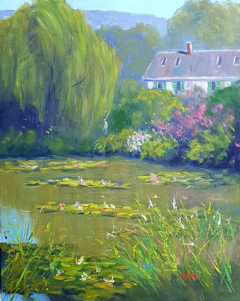 (CreativeWork) Monet's Home by Rod Moore. oil-painting. Shop online at Bluethumb.