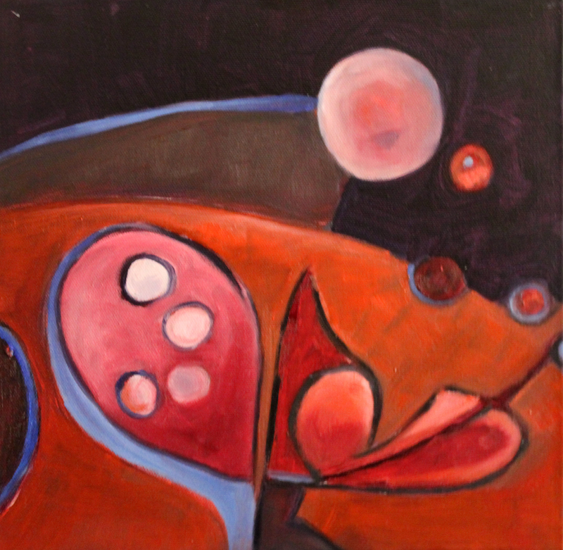 (CreativeWork) THE PLANTS LOVE A FULL MOON by Maureen Finck. oil-painting. Shop online at Bluethumb.