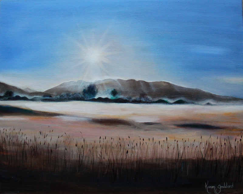 (CreativeWork) Morning Mist over the Valley by Karen Goddard. oil-painting. Shop online at Bluethumb.