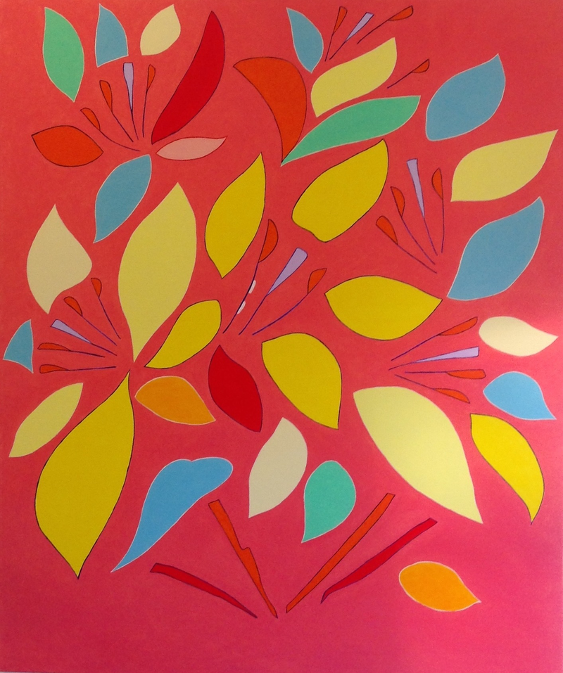 (CreativeWork) Pink flowers  by Will Dickerson. oil-painting. Shop online at Bluethumb.