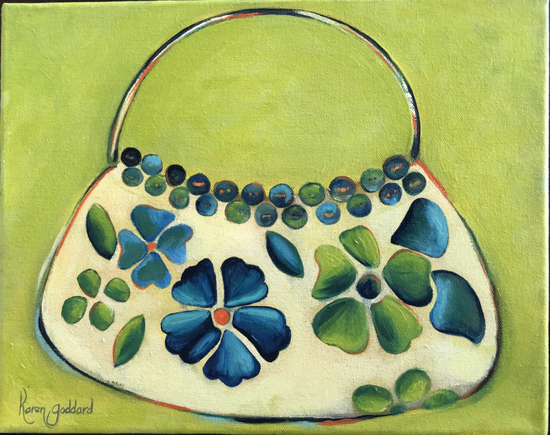 (CreativeWork) In Green I always accessorize by Karen Goddard. oil-painting. Shop online at Bluethumb.