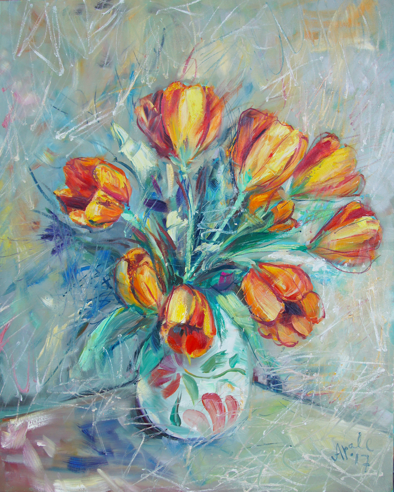 (CreativeWork) Tulips III by Katerina Apale. oil-painting. Shop online at Bluethumb.