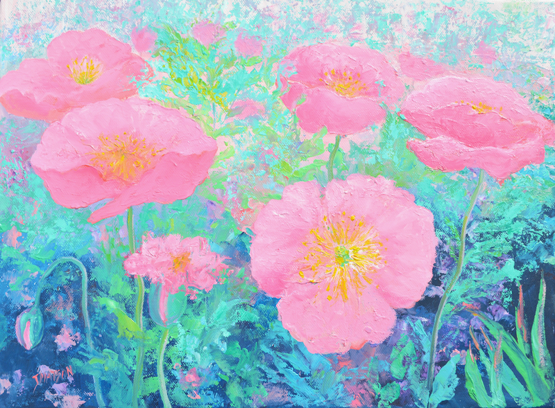 (CreativeWork) Pink Poppy Garden by Jan Matson. oil-painting. Shop online at Bluethumb.