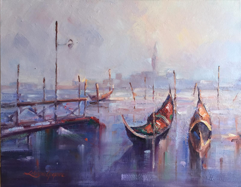 (CreativeWork) Romantic Venice #2 by Liliana Gigovic. oil-painting. Shop online at Bluethumb.