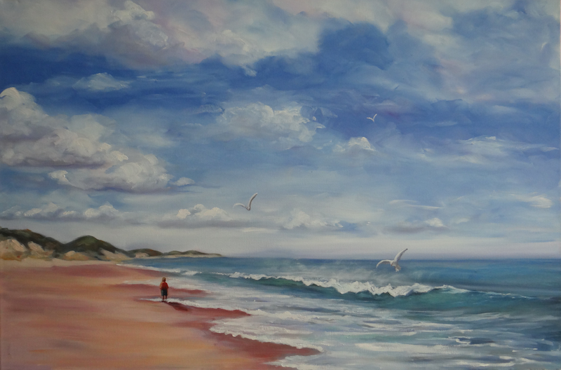 (CreativeWork) A Walk on the Beach by Anne Walsh. oil-painting. Shop online at Bluethumb.