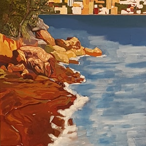 (CreativeWork) Whiting Beach Looking toward Rose Bay by David Foster. arcylic-painting. Shop online at Bluethumb.