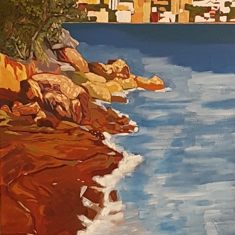 (CreativeWork) Whiting Beach Looking toward Rose Bay by David Foster. Acrylic Paint. Shop online at Bluethumb.