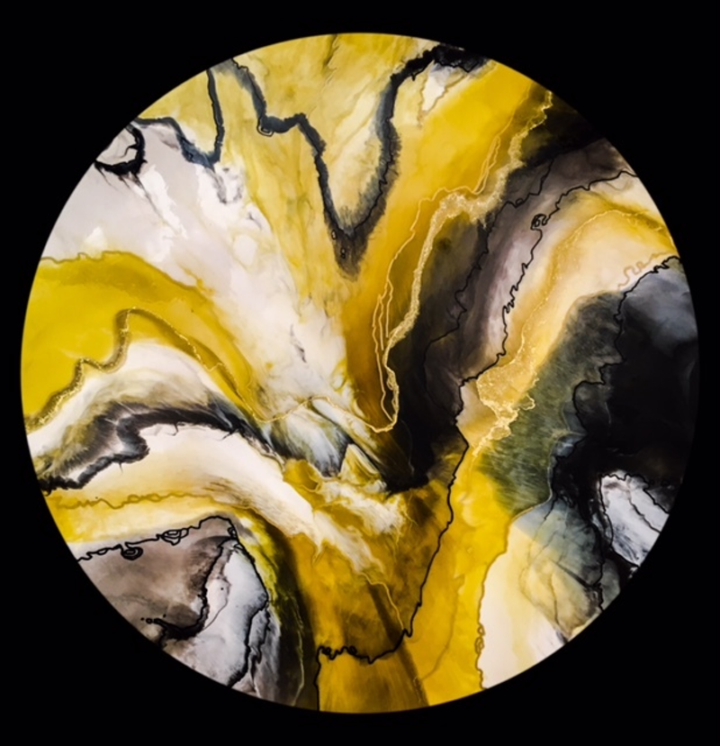(CreativeWork) Golden skies by Susan Fuss. resin. Shop online at Bluethumb.