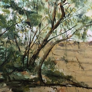 (CreativeWork) Sweeneys Lane Eltham VIC by Margaret Morgan (Watkins). watercolour. Shop online at Bluethumb.