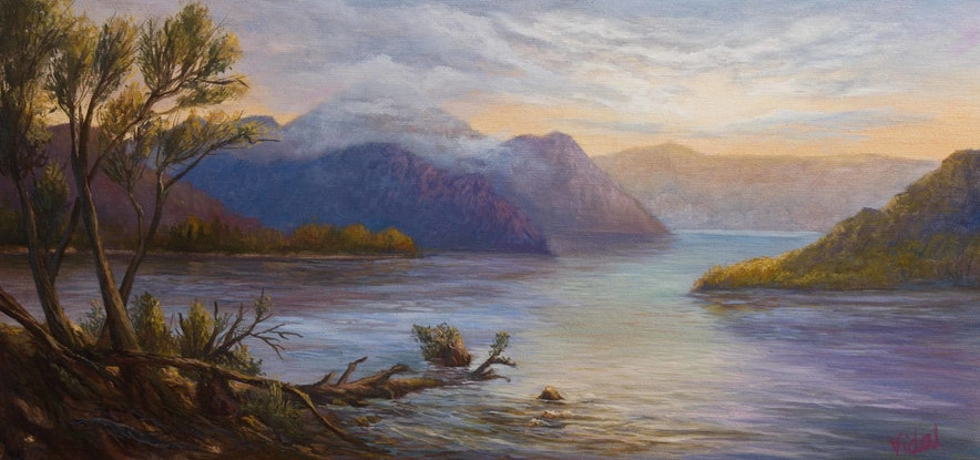 (CreativeWork) Original oil on canvas of Lake Burbury near Queenstown Tasmania by Christopher Vidal. Oil Paint. Shop online at Bluethumb.