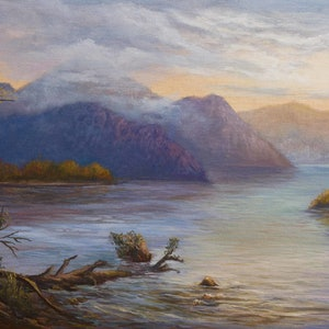 (CreativeWork) Original oil on canvas of Lake Burbury near Queenstown Tasmania by Christopher Vidal. oil-painting. Shop online at Bluethumb.
