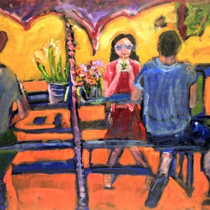 (CreativeWork) LUNCH AT THE PORT by Maureen Finck. oil-painting. Shop online at Bluethumb.