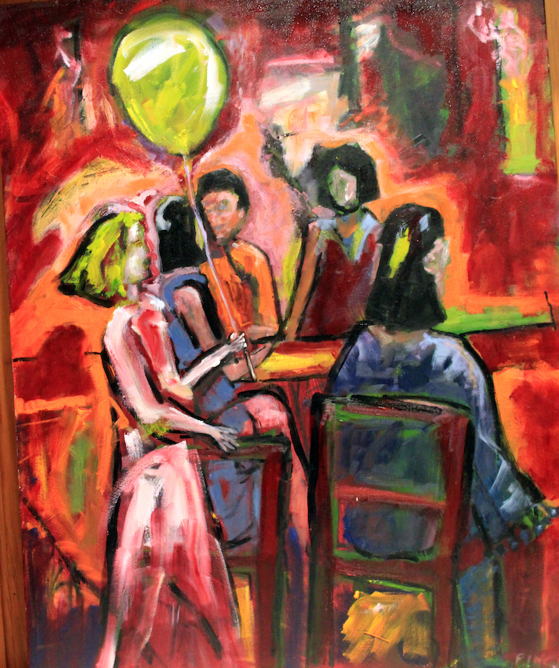 (CreativeWork) THE STREET PARTY by Maureen Finck. oil-painting. Shop online at Bluethumb.