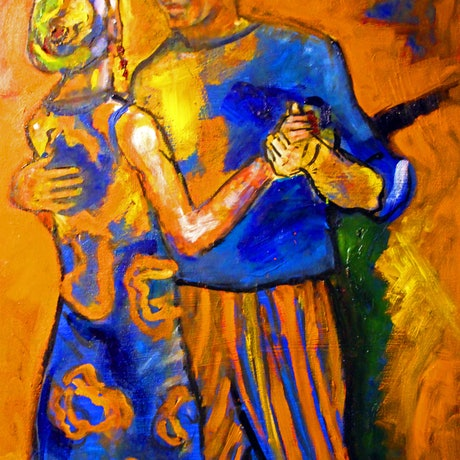 (CreativeWork) SALSA DANCERS by Maureen Finck. Oil Paint. Shop online at Bluethumb.
