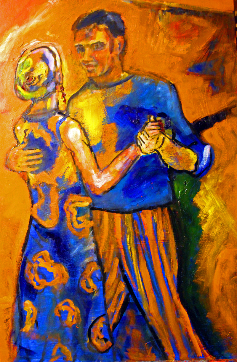 (CreativeWork) SALSA DANCERS by Maureen Finck. oil-painting. Shop online at Bluethumb.