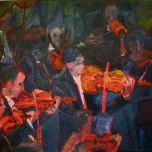 (CreativeWork) ORCHESTRA FOR DANCE by Maureen Finck. oil-painting. Shop online at Bluethumb.