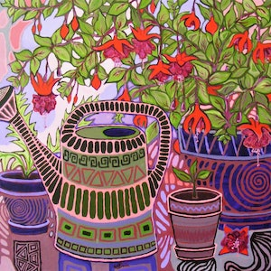 """(CreativeWork) """"Gardening Vibes"""" by Daniela Selir. arcylic-painting. Shop online at Bluethumb."""