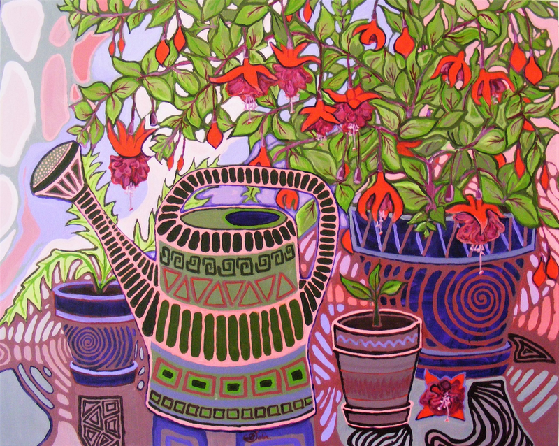 "(CreativeWork) ""Gardening Vibes"" by Daniela Selir. arcylic-painting. Shop online at Bluethumb."