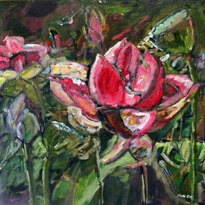 (CreativeWork) WATER LILY IN SUMMER by Maureen Finck. oil-painting. Shop online at Bluethumb.