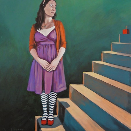 (CreativeWork) Red Box Series: The Stairs (painting study) by Ross Morgan. Acrylic Paint. Shop online at Bluethumb.