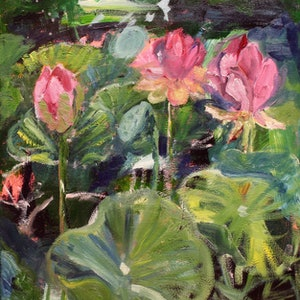 (CreativeWork) WATER LILIES IN SUMMER by Maureen Finck. arcylic-painting. Shop online at Bluethumb.