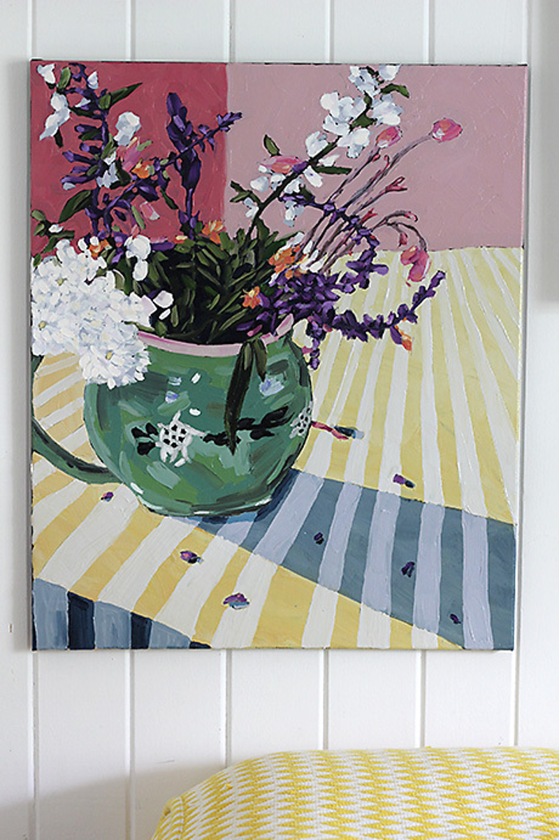 (CreativeWork) Wildflowers in Jenny's jug by Kate Quinn. oil-painting. Shop online at Bluethumb.