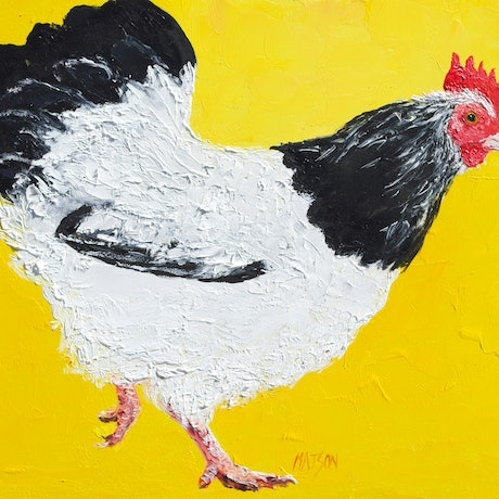 (CreativeWork) Black and White Hen - Framed by Jan Matson. Oil Paint. Shop online at Bluethumb.