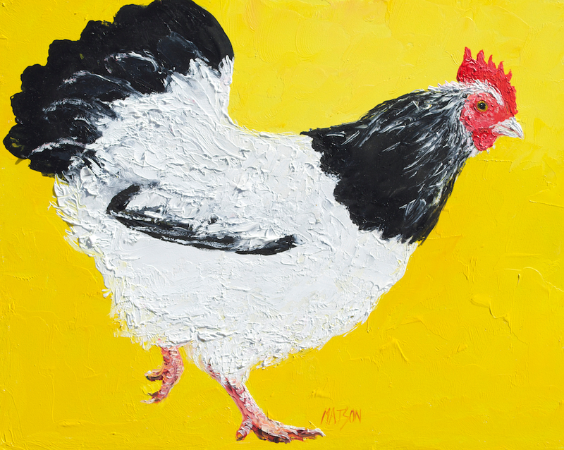(CreativeWork) Black and White Hen - Framed by Jan Matson. oil-painting. Shop online at Bluethumb.