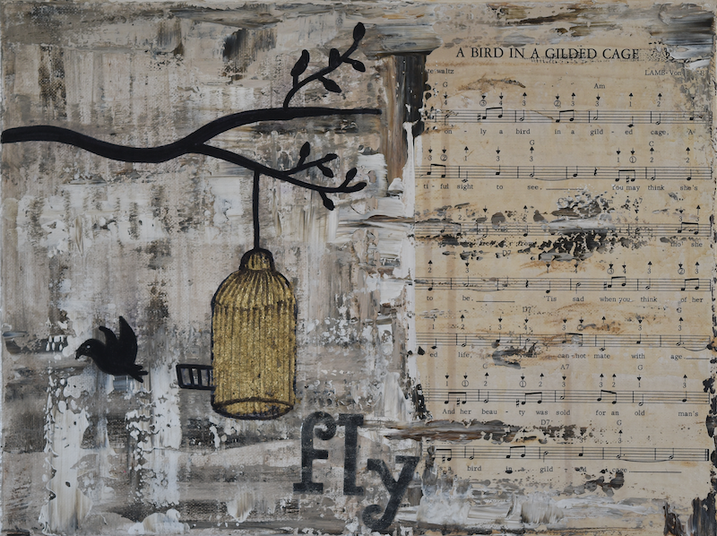 (CreativeWork) A Bird in a Gilded Cage  by Deborah Christensen. mixed-media. Shop online at Bluethumb.