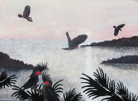 (CreativeWork) BLACK PALM COCKATOOS by Lisa Dangerfield. Acrylic Paint. Shop online at Bluethumb.