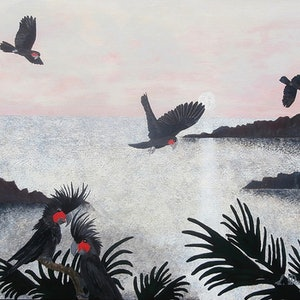 (CreativeWork) BLACK PALM COCKATOOS by Lisa Dangerfield. arcylic-painting. Shop online at Bluethumb.