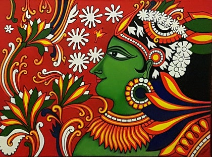 (CreativeWork) Indian Mural by Shoma Anand. arcylic-painting. Shop online at Bluethumb.