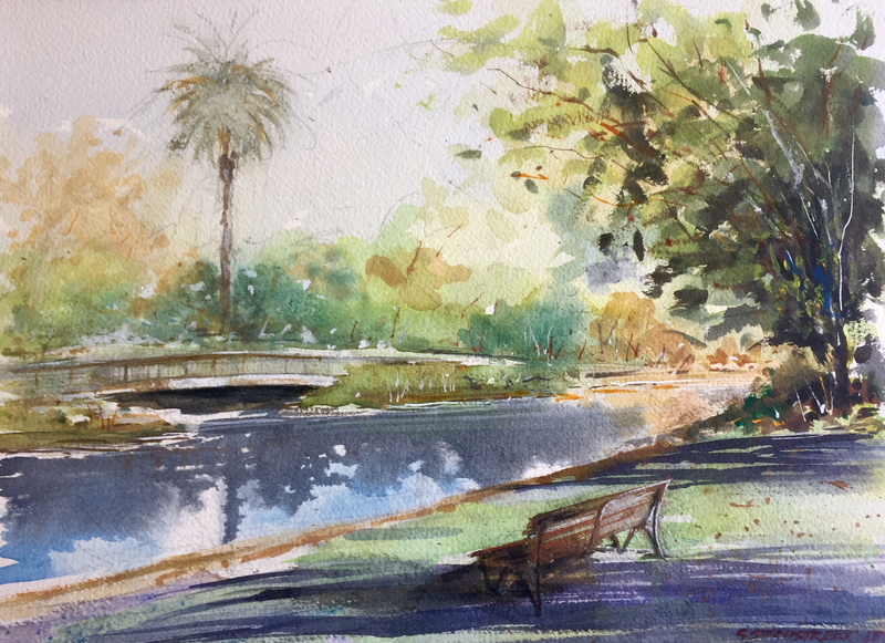 (CreativeWork) Still Reflections , Royal Botanic Gardens , Melbourne  by Geoff Stanistreet. watercolour. Shop online at Bluethumb.