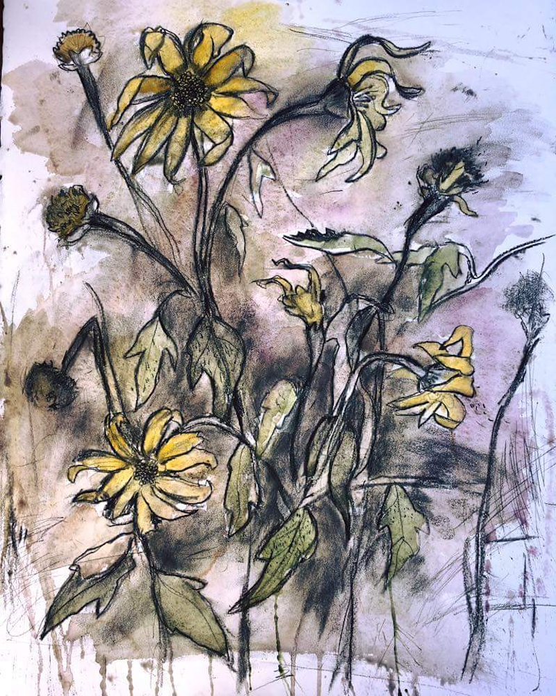 (CreativeWork) Wild Sunflowers by Jet James. mixed-media. Shop online at Bluethumb.