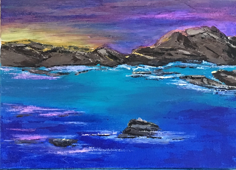 (CreativeWork) Last Light - Point Peron by Noela O'Keefe. oil-painting. Shop online at Bluethumb.