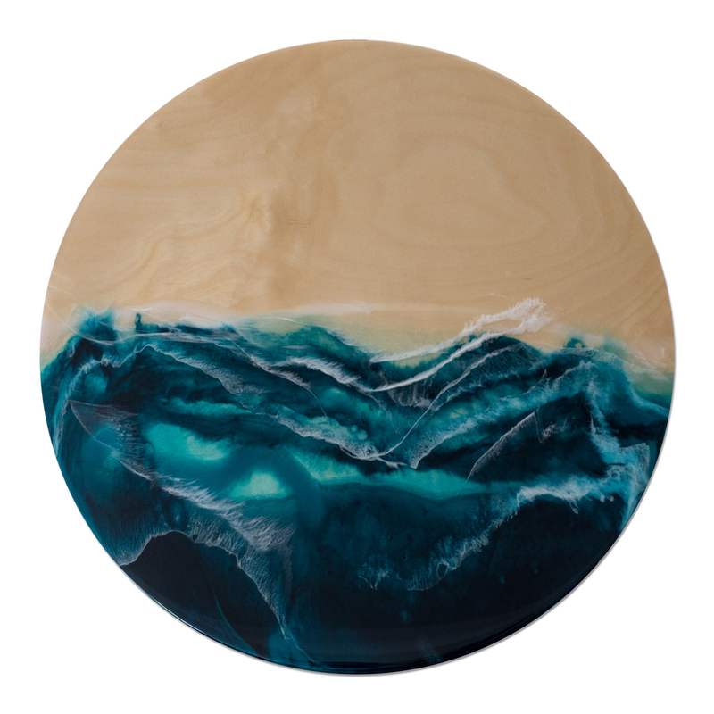 (CreativeWork) Nordic Seas - 60cm Resin on Birch Board by Belinda Doyle. resin. Shop online at Bluethumb.