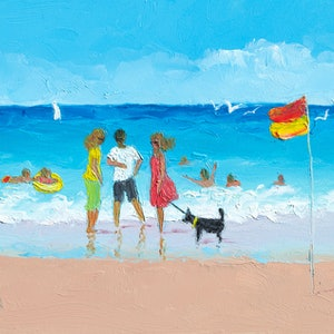 (CreativeWork) Sunday at the Beach by Jan Matson. oil-painting. Shop online at Bluethumb.