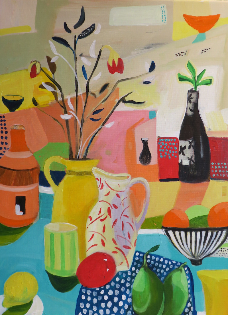 (CreativeWork) Still Life with Jugs by Susan Trudinger. acrylic-painting. Shop online at Bluethumb.