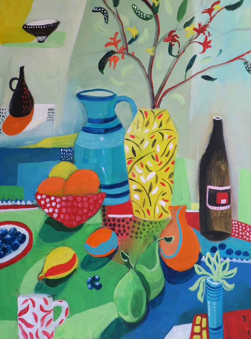 (CreativeWork) Still Life with Yellow Vase by Susan Trudinger. acrylic-painting. Shop online at Bluethumb.