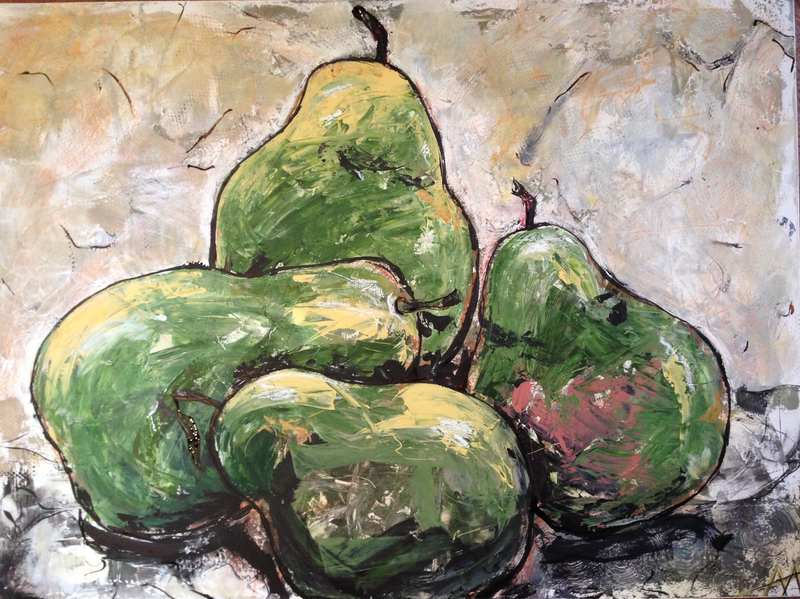 (CreativeWork) 4 Pears by Anita Parker. acrylic-painting. Shop online at Bluethumb.