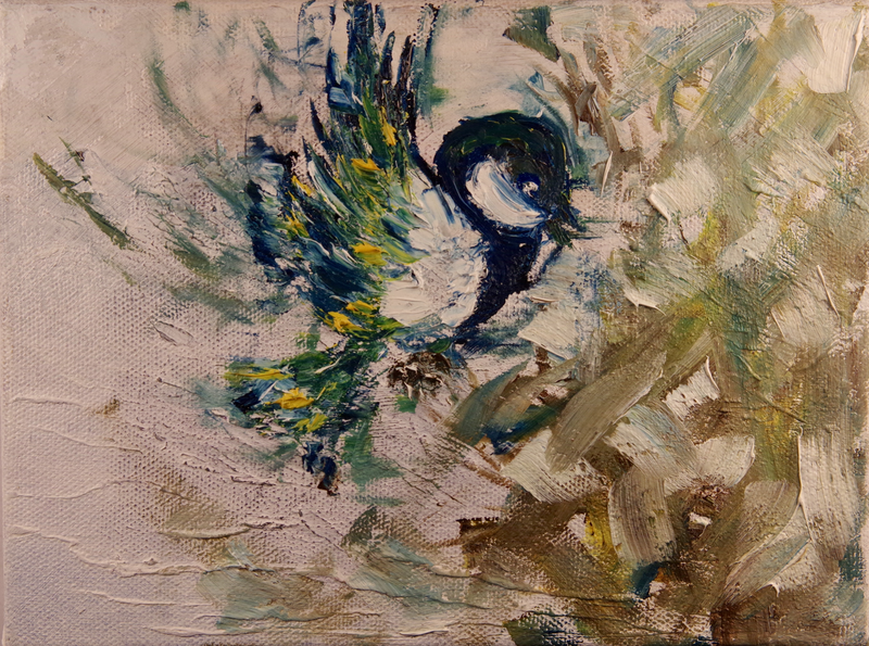 (CreativeWork) Abstract Blue Bird by Hannah Kuo. oil-painting. Shop online at Bluethumb.