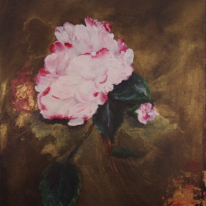 (CreativeWork) Peony by Hannah Kuo. arcylic-painting. Shop online at Bluethumb.