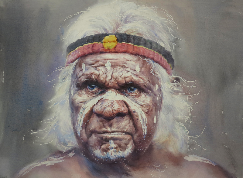 (CreativeWork) Indigenous Uncle by Richard(Tiejun) Chao. watercolour. Shop online at Bluethumb.