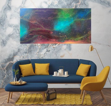 (CreativeWork) Abstract 1: Essence of Aurora Lights by Andrea Marriette. Acrylic Paint. Shop online at Bluethumb.