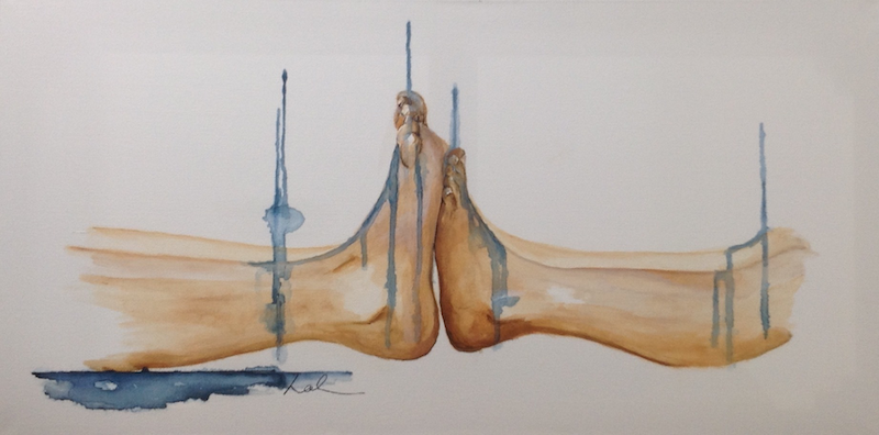 (CreativeWork) Cold feet by Leah Dodd. arcylic-painting. Shop online at Bluethumb.
