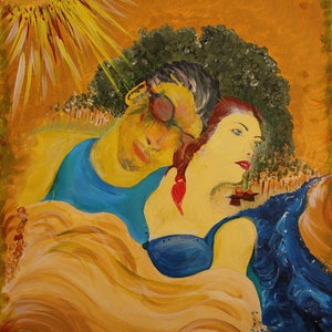 (CreativeWork) FARMER AND THE ACTRESS by Shaun J Myles. arcylic-painting. Shop online at Bluethumb.
