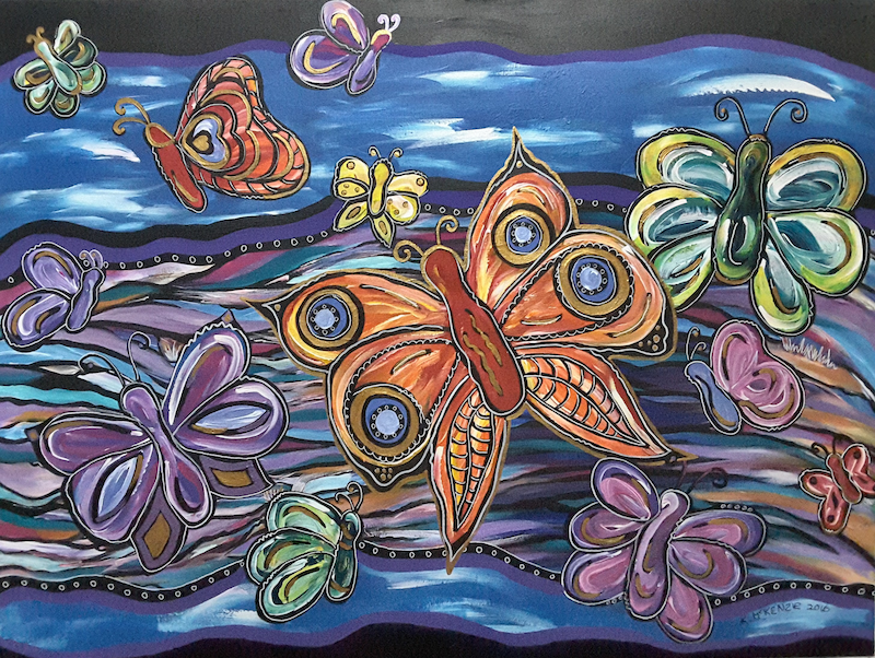 (CreativeWork) Butterfly Me by Karen McKenzie. acrylic-painting. Shop online at Bluethumb.