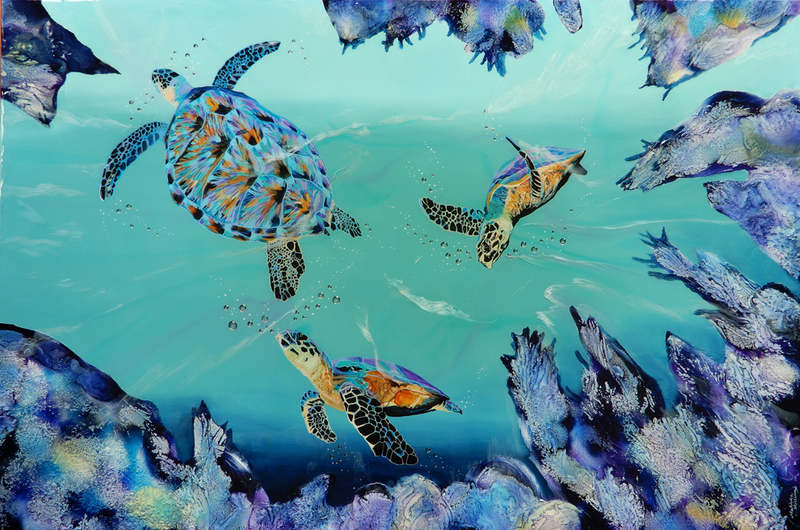(CreativeWork) Turtle Love by Melinda Williams. mixed-media. Shop online at Bluethumb.