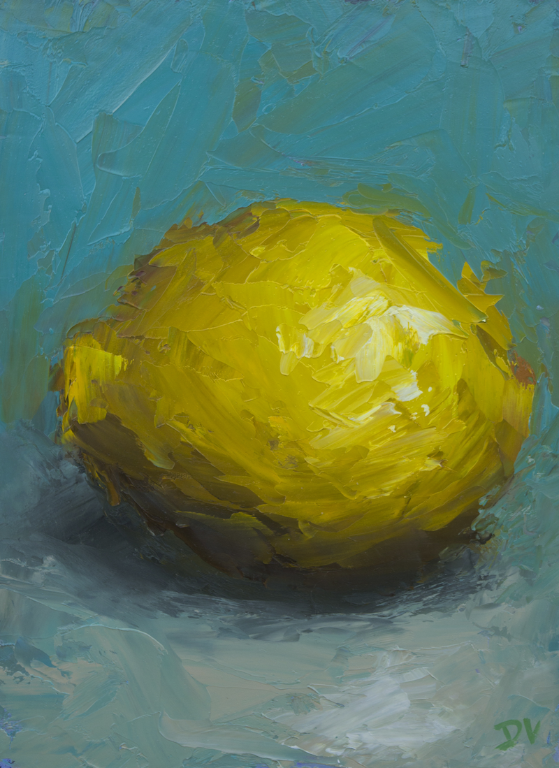 (CreativeWork)  Still life Lemon by Damien Venditti. oil-painting. Shop online at Bluethumb.