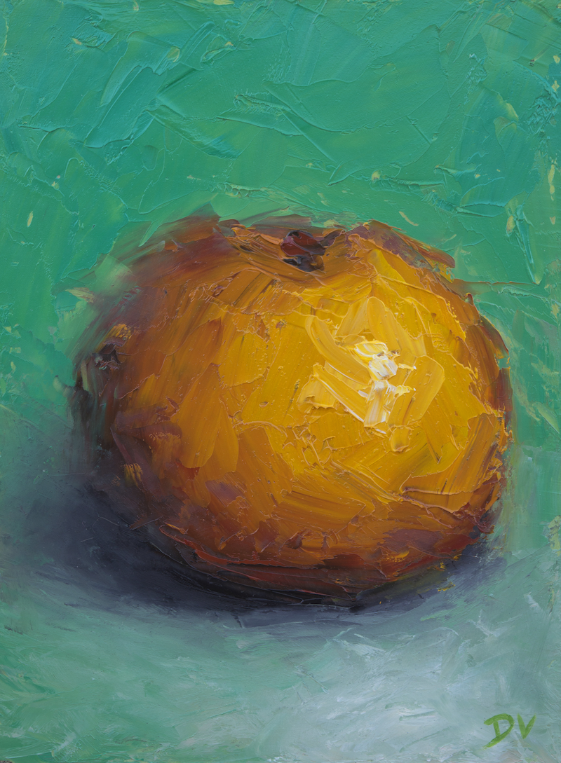 (CreativeWork) Still life Orange by Damien Venditti. oil-painting. Shop online at Bluethumb.